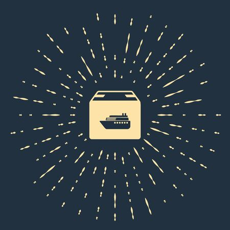 Beige Cargo ship with boxes delivery service icon isolated on dark blue background. Delivery, transportation. Freighter with parcels, boxes, goods. Abstract circle random dots. Vector Illustration Banque d'images - 133503724