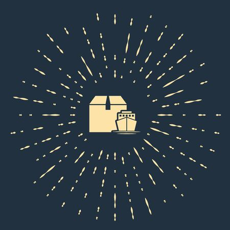 Beige Cargo ship with boxes delivery service icon isolated on dark blue background. Delivery, transportation. Freighter with parcels, boxes, goods. Abstract circle random dots. Vector Illustration Banque d'images - 133503728