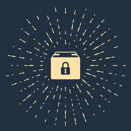 Beige Locked package icon isolated on dark blue background. Lock and cardboard box. Abstract circle random dots. Vector Illustration Illusztráció