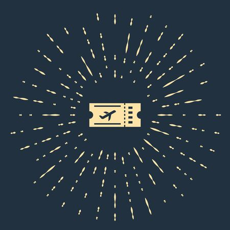 Beige Airline ticket icon isolated on dark blue background. Plane ticket. Abstract circle random dots. Vector Illustration