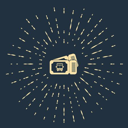 Beige Bus ticket icon isolated on dark blue background. Public transport ticket. Abstract circle random dots. Vector Illustration