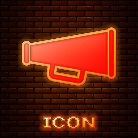 Glowing neon Megaphone icon isolated on brick wall background. Vector Illustration Ilustração