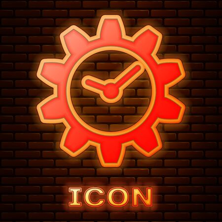 Glowing neon Time Management icon isolated on brick wall background. Clock and gear sign. Vector Illustration Stok Fotoğraf - 133377381
