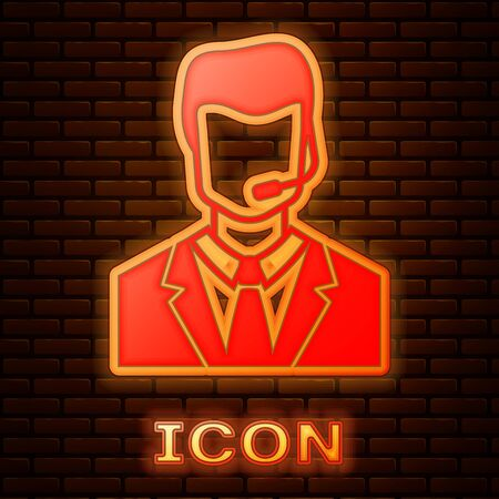 Glowing neon Man with a headset icon isolated on brick wall background. Support operator in touch. Concept for call center, client support service. Vector Illustration