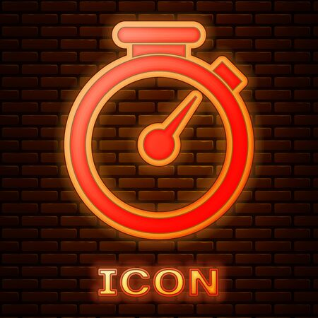 Glowing neon Stopwatch icon isolated on brick wall background. Time timer sign. Vector Illustration Stok Fotoğraf - 133377397