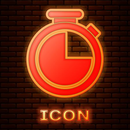 Glowing neon Stopwatch icon isolated on brick wall background. Time timer sign. Vector Illustration Stok Fotoğraf - 133377400