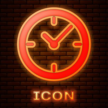 Glowing neon Clock icon isolated on brick wall background. Vector Illustration