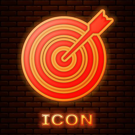 Glowing neon Target with arrow icon isolated on brick wall background. Dart board sign. Archery board icon. Dartboard sign. Business goal concept. Vector Illustration