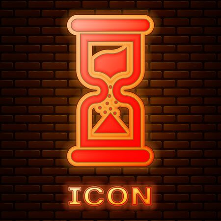Glowing neon Old hourglass with flowing sand icon isolated on brick wall background. Sand clock sign. Business and time management concept. Vector Illustration Stok Fotoğraf - 133377406