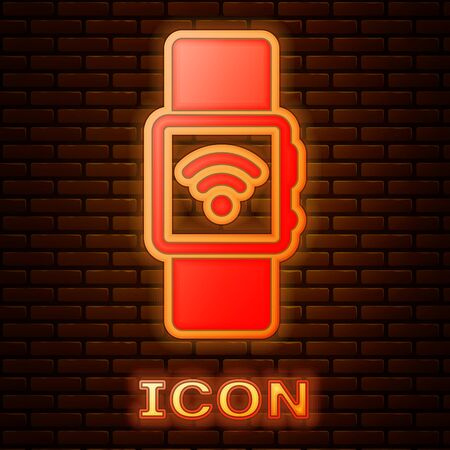 Glowing neon Smartwatch with wireless symbol icon isolated on brick wall background. Vector Illustration Illustration