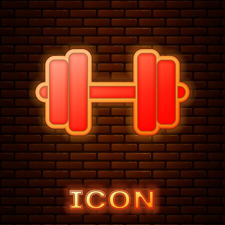 Glowing neon Dumbbell icon isolated on brick wall background. Muscle lifting icon, fitness barbell, gym icon, sports equipment symbol, exercise bumbbell. Vector Illustration Illustration