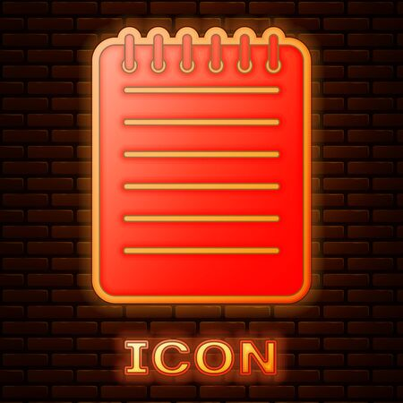 Glowing neon Notebook icon isolated on brick wall background. Spiral notepad icon. Writing pad. Diary for business. Notebook cover design. Vector Illustration 版權商用圖片 - 133353824