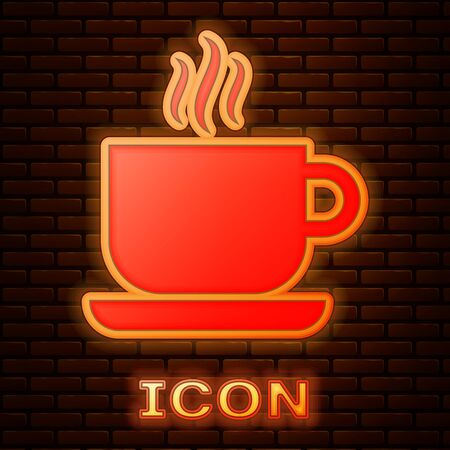 Glowing neon Coffee cup icon isolated on brick wall background. Tea cup. Hot drink coffee. Vector Illustration Stok Fotoğraf - 133353460
