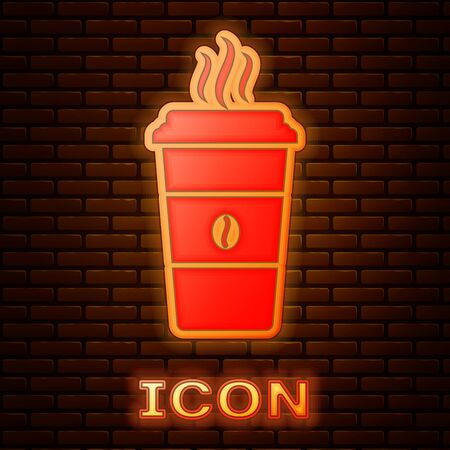 Glowing neon Coffee cup icon isolated on brick wall background. Disposable coffee cup with hot coffee. Vector Illustration