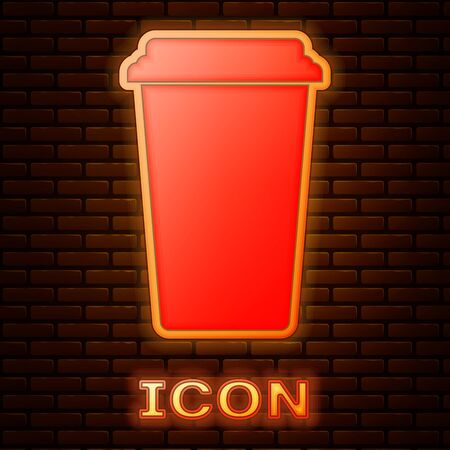 Glowing neon Coffee cup icon isolated on brick wall background. Disposable coffee cup with hot coffee. Vector Illustration Stok Fotoğraf - 133353470