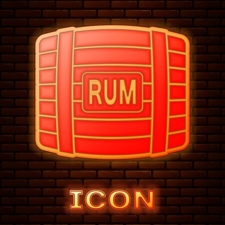 Glowing neon Wooden barrel with rum icon isolated on brick wall background. Vector Illustration Archivio Fotografico - 133353476