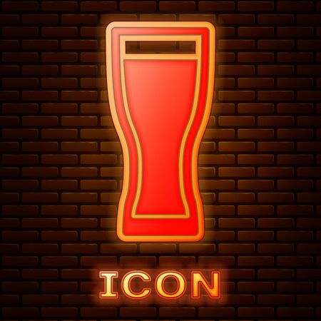 Glowing neon Glass of beer icon isolated on brick wall background. Vector Illustration