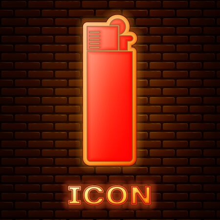 Glowing neon Lighter icon isolated on brick wall background. Vector Illustration Foto de archivo - 133353477
