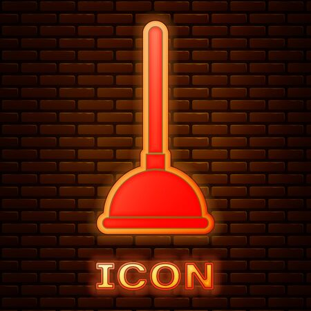 Glowing neon Rubber plunger with wooden handle for pipe cleaning icon isolated on brick wall background. Toilet plunger. Vector Illustration