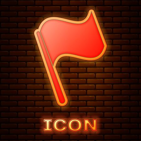 Glowing neon Flag icon isolated on brick wall background. Vector Illustration