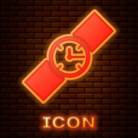Glowing neon Wrist watch icon isolated on brick wall background. Wristwatch icon. Vector Illustration Stok Fotoğraf - 133353496