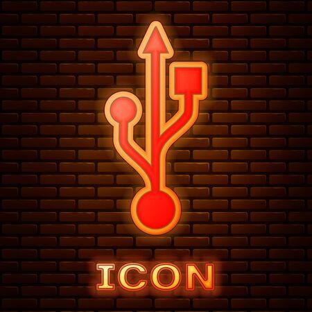 Glowing neon USB symbol icon isolated on brick wall background. Vector Illustration Ilustração