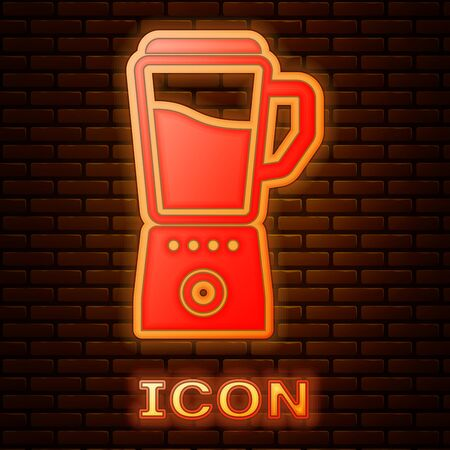 Glowing neon Blender icon isolated on brick wall background. Kitchen electric stationary blender with bowl. Cooking smoothies, cocktail or juice. Vector Illustration