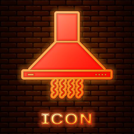 Glowing neon Kitchen extractor fan icon isolated on brick wall background. Cooker hood. Kitchen exhaust. Household appliance. Vector Illustration Çizim