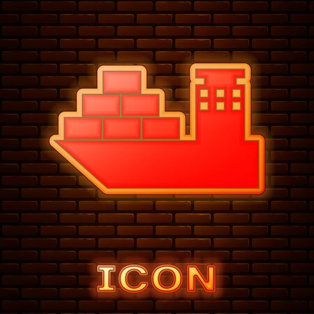 Glowing neon Cargo ship icon isolated on brick wall background. Vector Illustration Ilustracja