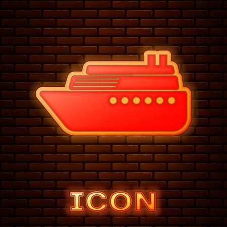 Glowing neon Ship icon isolated on brick wall background. Vector Illustration 版權商用圖片 - 133353548