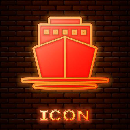Glowing neon Ship icon isolated on brick wall background. Vector Illustration 版權商用圖片 - 133353549