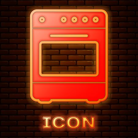 Glowing neon Oven icon isolated on brick wall background. Stove gas oven sign. Vector Illustration