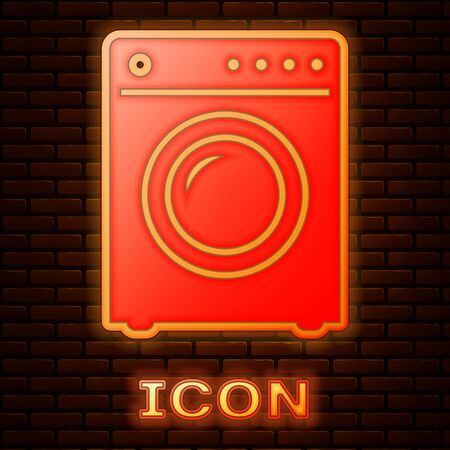 Glowing neon Washer icon isolated on brick wall background. Washing machine icon. Clothes washer - laundry machine. Home appliance symbol. Vector Illustration Иллюстрация