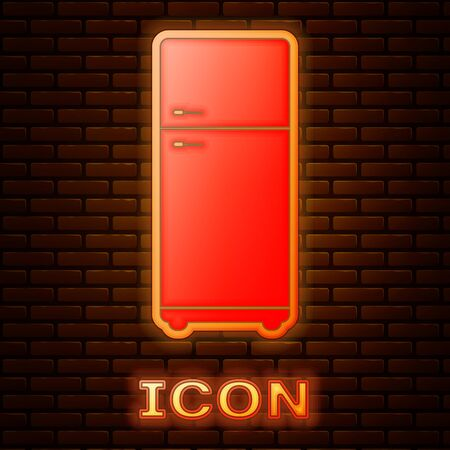 Glowing neon Refrigerator icon isolated on brick wall background. Fridge freezer refrigerator. Household tech and appliances. Vector Illustration Stock Illustratie