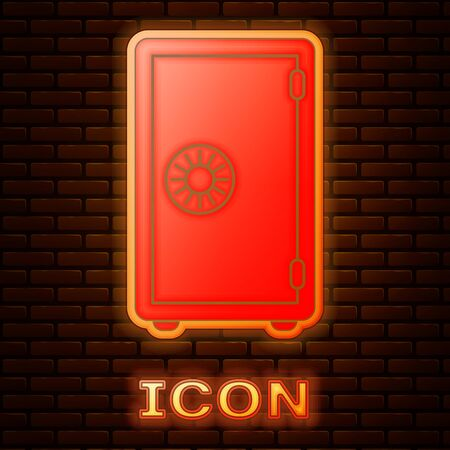 Glowing neon Safe icon isolated on brick wall background. The door safe a bank vault with a combination lock. Reliable Data Protection. Vector Illustration