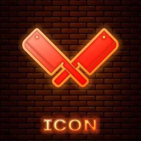 Glowing neon Crossed meat chopper icon isolated on brick wall background. Kitchen knife for meat. Butcher knife. Vector Illustration Imagens - 133377522