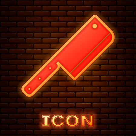 Glowing neon Meat chopper icon isolated on brick wall background. Kitchen knife for meat. Butcher knife. Vector Illustration Imagens - 133377524