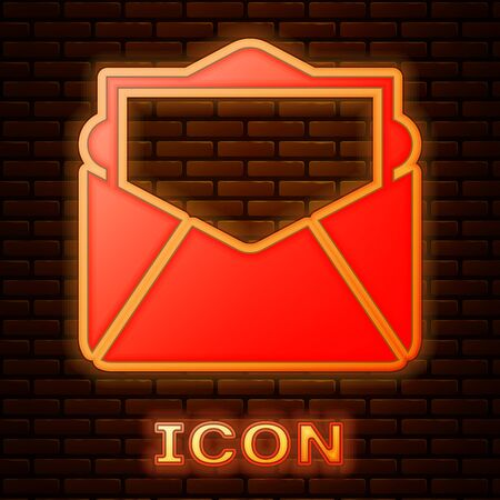 Glowing neon Mail and e-mail icon isolated on brick wall background. Envelope symbol e-mail. Email message sign. Vector Illustration Illustration