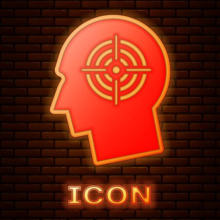 Glowing neon Head hunting concept icon isolated on brick wall background. Business target or Employment sign. Human resource and recruitment for business. Vector Illustration