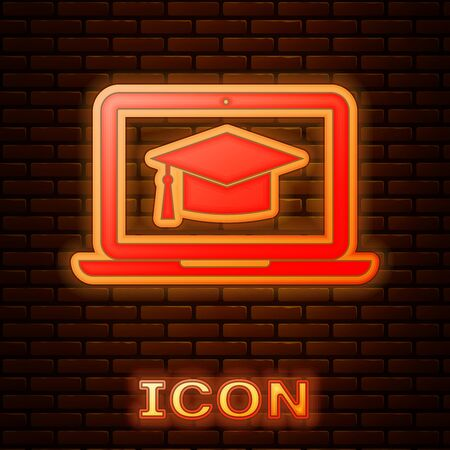 Glowing neon Graduation cap on screen laptop icon isolated on brick wall background. Online learning or e-learning concept. Vector Illustration