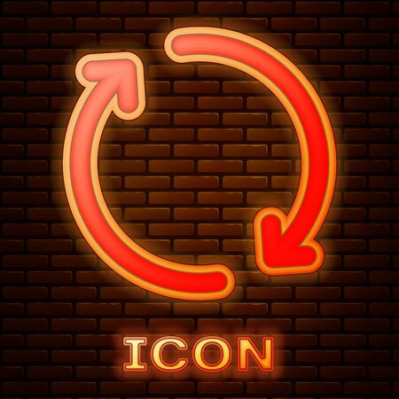 Glowing neon Refresh icon isolated on brick wall background. Reload symbol. Rotation arrows in a circle sign. Vector Illustration Иллюстрация