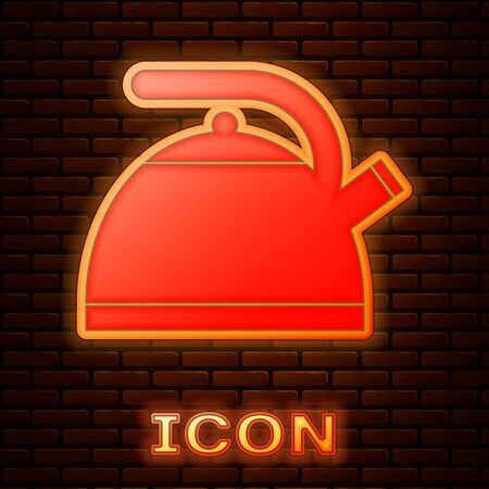 Glowing neon Kettle with handle icon isolated on brick wall background. Teapot icon. Vector Illustration Imagens - 133377483