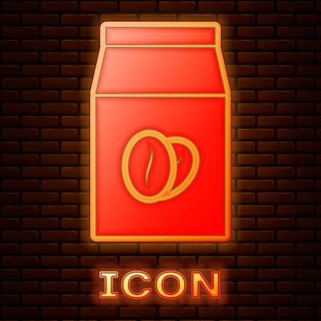 Glowing neon Coffee beans in bag icon isolated on brick wall background. Vector Illustration
