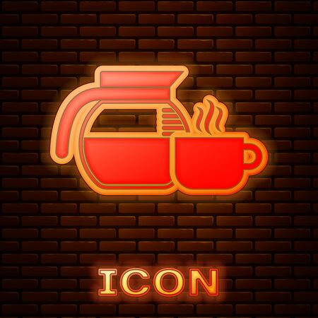 Glowing neon Coffee pot with cup icon isolated on brick wall background. Vector Illustration Stok Fotoğraf - 133377486