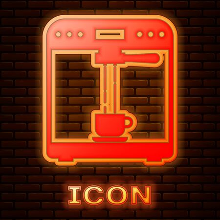 Glowing neon Coffee machine and coffee cup icon isolated on brick wall background. Vector Illustration Stok Fotoğraf - 133377488