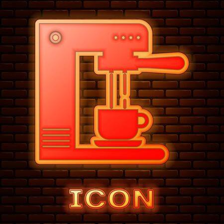 Glowing neon Coffee machine and coffee cup icon isolated on brick wall background. Vector Illustration Stok Fotoğraf - 133377490