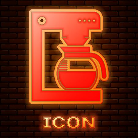 Glowing neon Coffee machine with glass pot icon isolated on brick wall background. Vector Illustration Stok Fotoğraf - 133377491