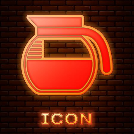 Glowing neon Coffee pot icon isolated on brick wall background. Vector Illustration Stok Fotoğraf - 133377492