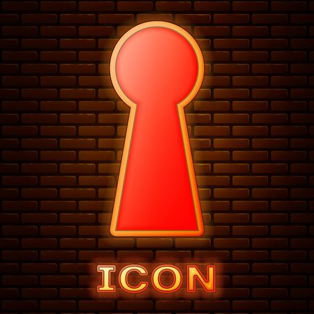 Glowing neon Keyhole icon isolated on brick wall background. Key of success solution. Keyhole express the concept of riddle, secret, safety, security. Vector Illustration Illusztráció