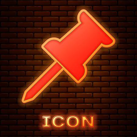 Glowing neon Push pin icon isolated on brick wall background. Thumbtacks sign. Vector Illustration 向量圖像